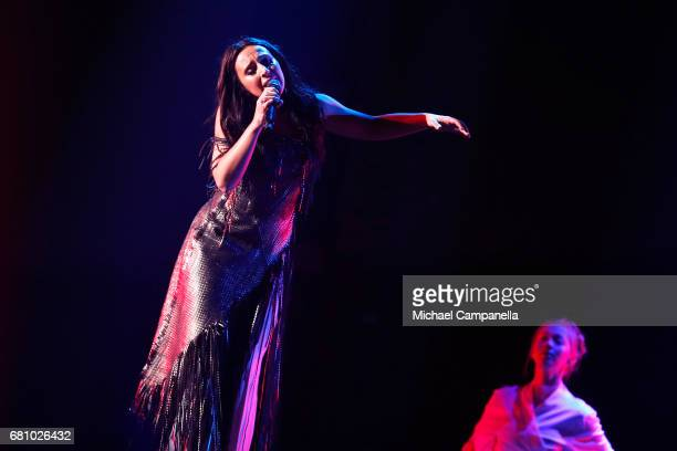 Jamala winner of 2016 performs the song '1944' during the first semi final of the 62nd Eurovision Song Contest at International Exhibition Centre on...
