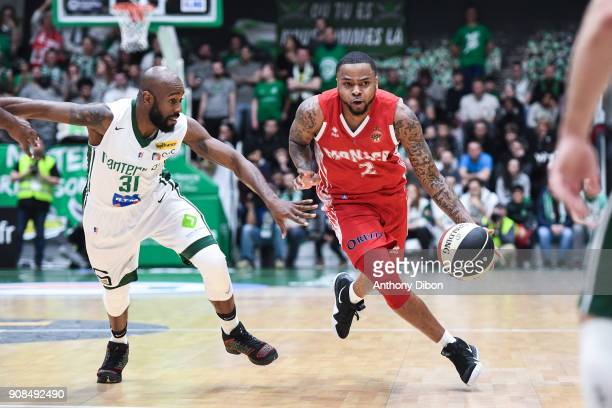 Jamam Wilson of Nanterre and DJ Cooper of Monaco during the Pro A match between Nanterre 92 and Monaco on January 21 2018 in Nanterre France