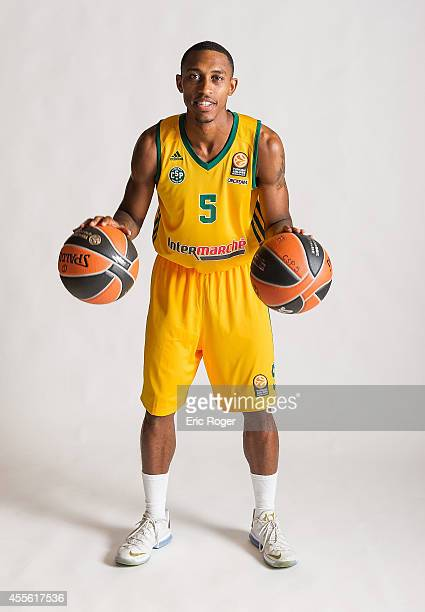 Jamar Smith #5 of Limoges CSP poses during the Limoges CSP 2014/2015 Turkish Airlines Euroleague Basketball Media Day at Beaublanc on September 10...