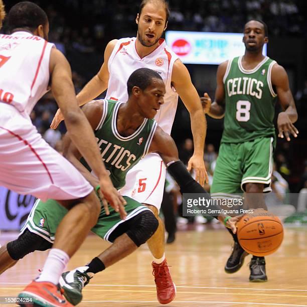 Jamar Smith of Celtics competes with Malik Hairston and Jacopo Giachetti of Armani during the NBA Europe Live game between EA7 Emporio Armani Milano...