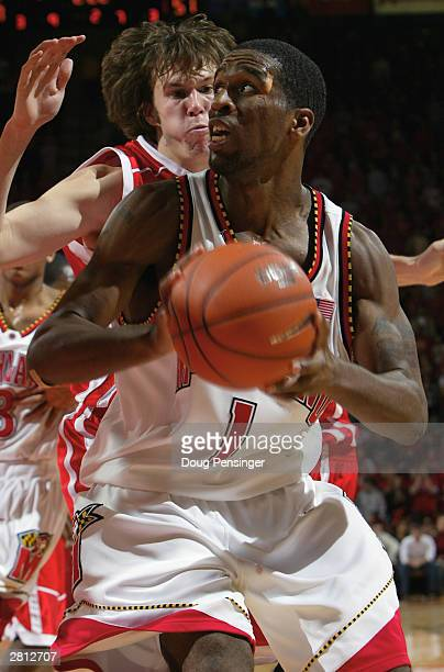 Jamar Smith of the Maryland Terrapins looks to make a move under the basket during the game against the Wisconsin Badgers in ACC/Big Ten Challenge...