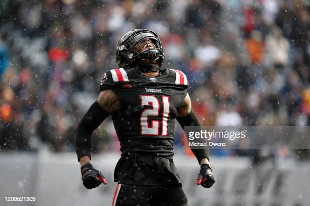 Jamar Summers of the NY Guardians celebrates after the defense forced a fourth down during the first half of their XFL game against the LA Wildcats...