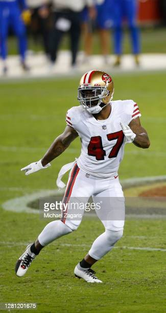 Jamar Taylor# 47 of the San Francisco 49ers defends during the game against the Los Angeles Rams at Levi's Stadium on October 18, 2020 in Santa...