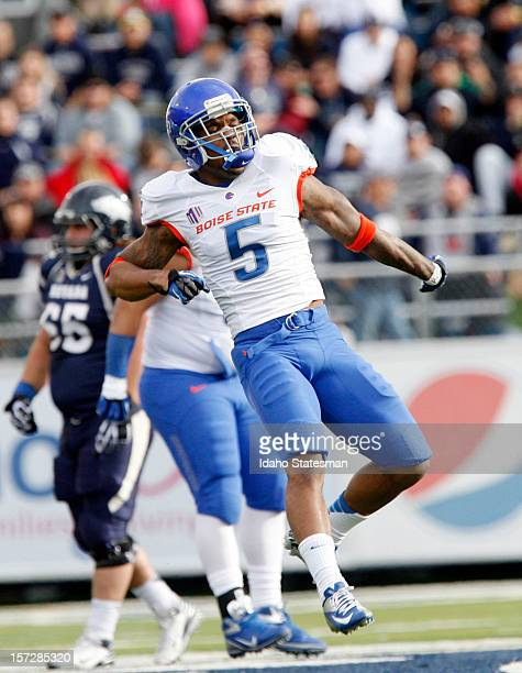 Jamar Taylor of the Boise State Broncos celebrates a sack of Cody Fajardo of the Nevada Wolf Pack at Mackay Stadium on Saturday December 1 in Reno...