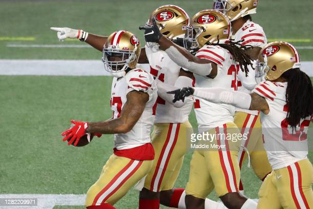 Jamar Taylor of the San Francisco 49ers celebrates an interception of Jarrett Stidham of the New England Patriots in the fourth quarter of their NFL...