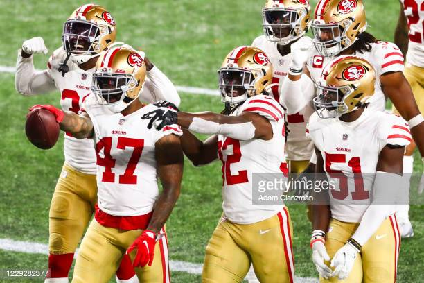 Jamar Taylor of the San Francisco 49ers reacts after an interception in the third quarter of a game against the New England Patriots on October 25,...