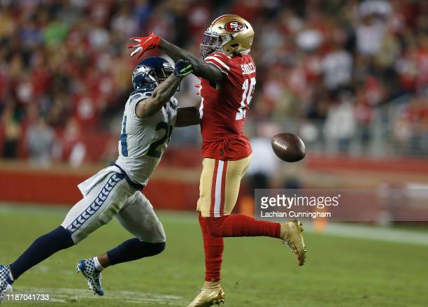 Jamar Taylor of the Seattle Seahawks breaks up a pass intended for Deebo Samuel of the San Francisco 49ers in the third quarter at Levi's Stadium on...