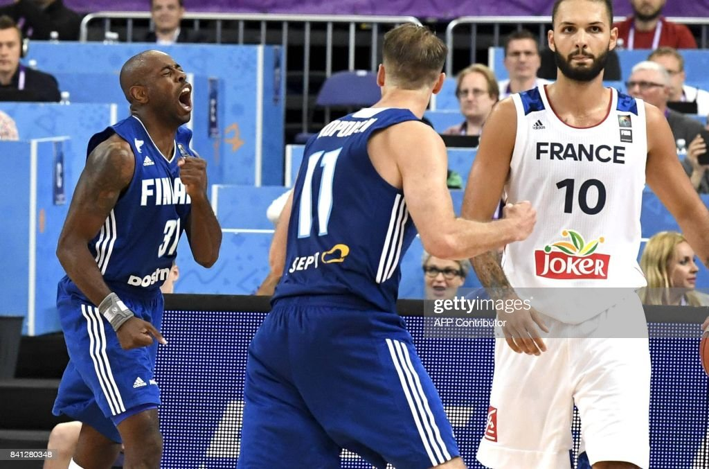 Jamar Wilson of Finland celebrates scoring during the basketball European Championships Eurobasket 2017 qualification round Group A match France vs Finland in Helsinki, Finland on August 31, 2017. / AFP PHOTO / Lehtikuva / Jussi Nukari / Finland OUT
