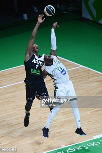 Jamar Wilson of Nanterre and Alpha Kaba of ASVEL during the Jeep Elite match between Nanterre and Lyon Villeurbanne at U Arena on March 11 2018 in...