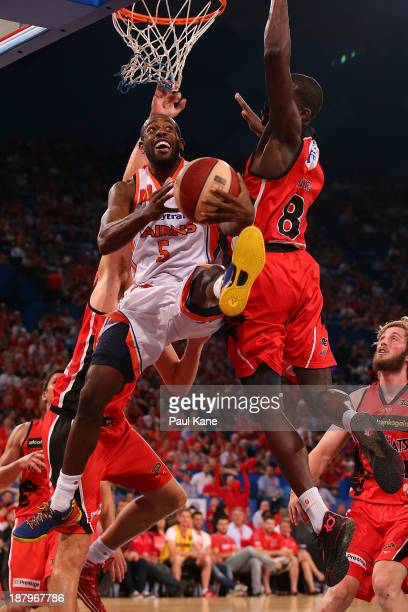 Jamar Wilson of the Taipans lays up during the round six NBL match between the Perth Wildcats and the Cairns Taipans at Perth Arena in November 14...