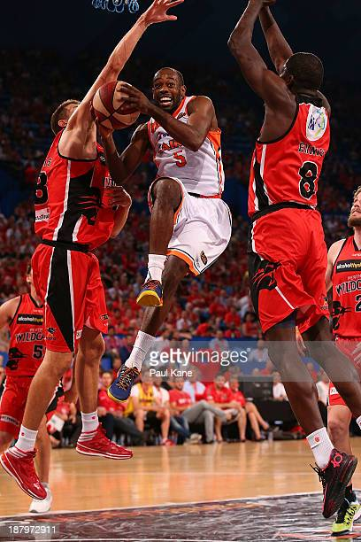 Jamar Wilson of the Taipans lays up during the round six NBL match between the Perth Wildcats and the Cairns Taipans at Perth Arena in November 14,...