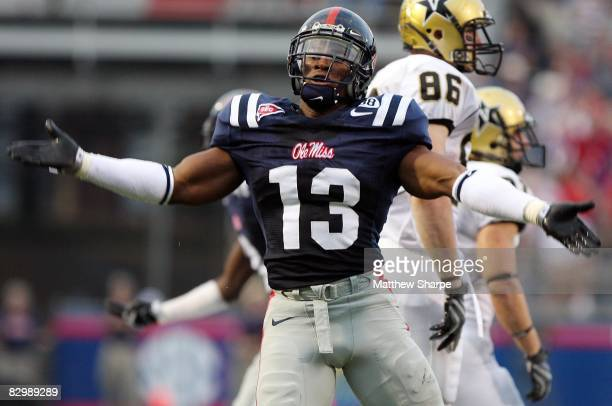 Jamarca Sanford of the Ole Miss Rebels celebrates a fumble recovery against the Vanderbilt Commodores during their game at VaughtHemingway Stadium on...