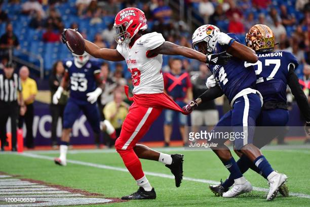 Ja'Marcus Bradley from Louisiana playing for the East Team scores during the first quarter against the West Team at the 2020 East West Shrine Bowl at...