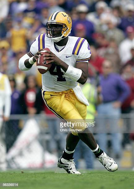 JaMarcus Russell of the Louisiana State University Tigers drops back to pass during the game with the University of Arkansas Razorbacks on November...