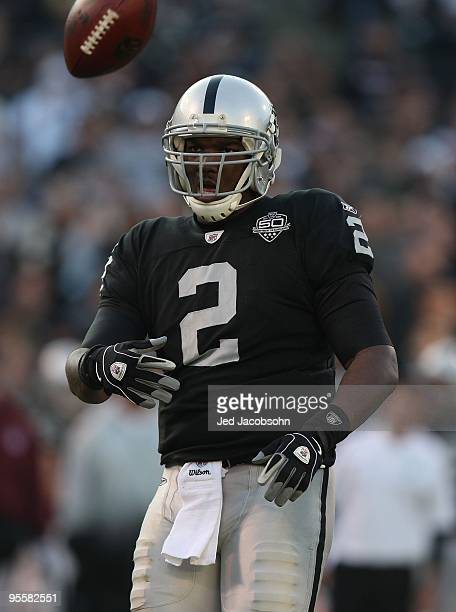 JaMarcus Russell of the Oakland Raiders in action against the Baltimore Ravens during an NFL game at OaklandAlameda County Coliseum on January 3 2010...