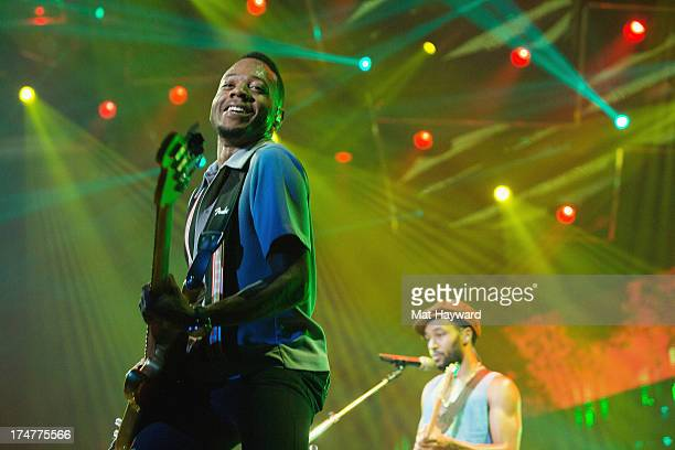 Jamareo Artis performs with Grammy Award winner Platinum record producer and artist Bruno Mars at Staples Center on July 28 2013 in Los Angeles...