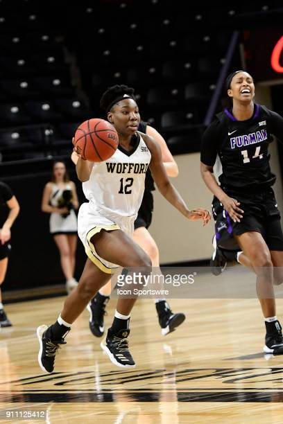 Jamari McDavid forward Wofford College Terriers leads a fast break against the Furman University Paladins Saturday January 27 at Richardson Indoor...