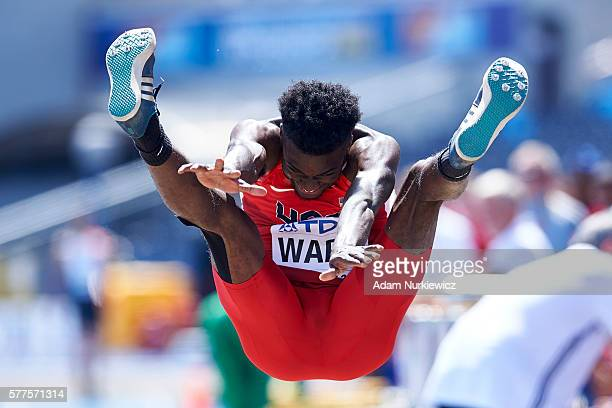 Ja'mari Ward from USA competes in men's long jump qualification during the IAAF World U20 Championships - Day 1 at Zawisza Stadium on July 19, 2016...