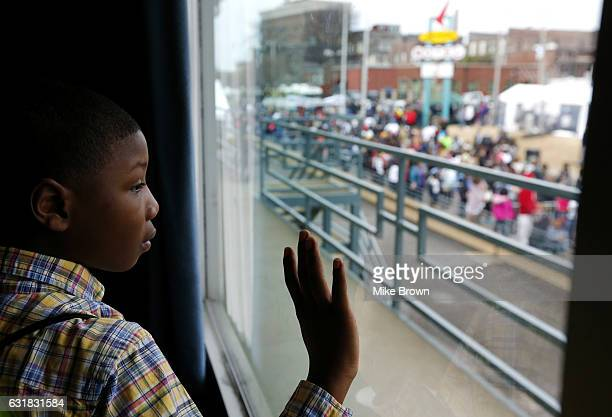 Ja'Marieon Anderson looks out a window in the National Civil Rights Museum near the spot where Martin Luther King Jr was struck down by a bullett on...