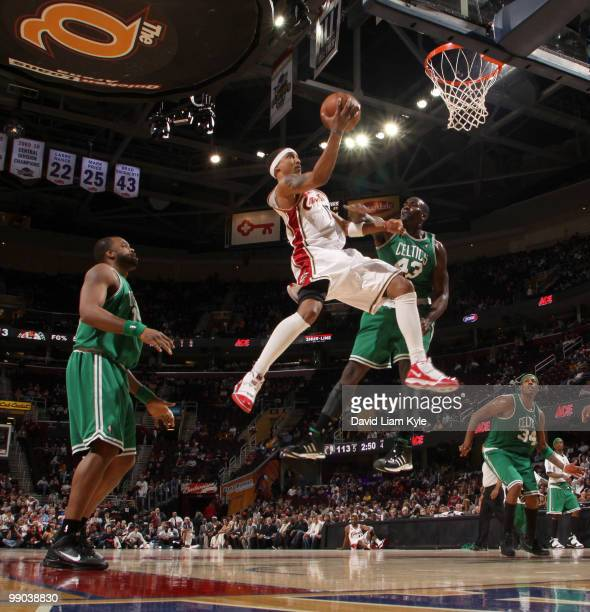 Jamario Moon of the Cleveland Cavaliers glides in for a shot against Kendrick Perkins of the Boston Celtics in Game Five of the Eastern Conference...