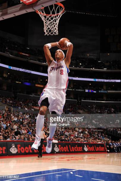 Jamario Moon of the Los Angeles Clippers rises for a dunk against the Oklahoma City Thunder at Staples Center on April 2 2011 in Los Angeles...