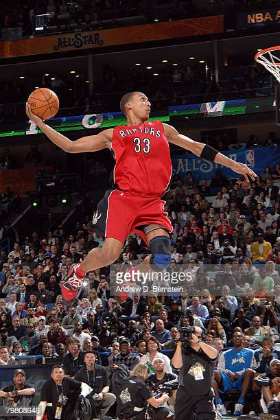 Jamario Moon of the Toronto Raptors competes during the Sprite Slam Dunk Contest part of 2008 NBA AllStar Weekend at the New Orleans Arena on...