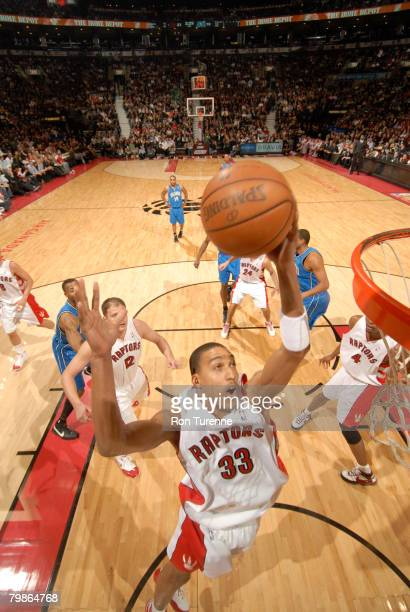 Jamario Moon of the Toronto Raptors grabs a rebound during a game against the Orlando Magic on February 20 2008 at the Air Canada Centre in Toronto...