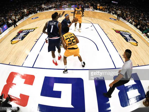 Jamario Moon of the Triplets attempts attempts a shot against the Killer 3s during the BIG3 Championship at Staples Center on September 01, 2019 in...