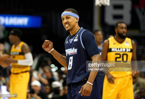 Jamario Moon of the Triplets celebrates while playing against the Killer 3s during the BIG3 Championship at Staples Center on September 01, 2019 in...