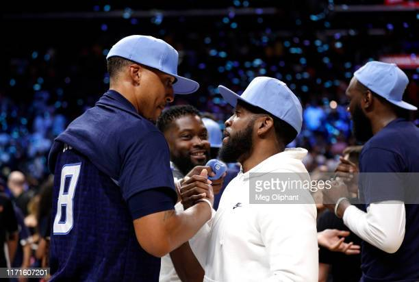 Jamario Moon of the Triplets is congratulated by a teammate after defeating the Killer 3s to win the BIG3 Championship at Staples Center on September...