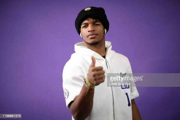 Ja'Marr Chase of the LSU Tigers attends media day for the College Football Playoff National Championship on January 11 2020 in New Orleans Louisiana