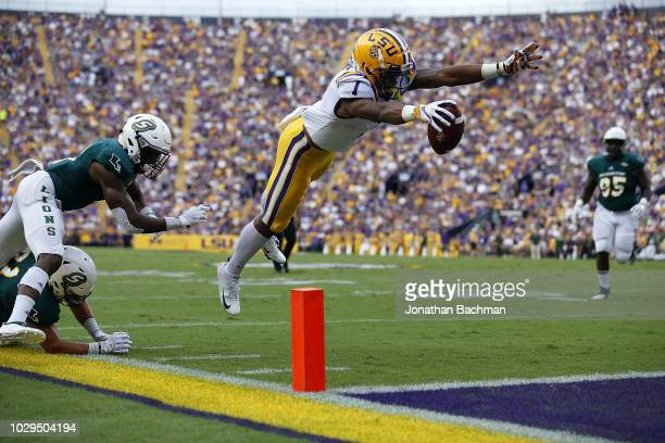 Ja'Marr Chase of the LSU Tigers scores a touchdown during the first half against the Southeastern Louisiana Lions at Tiger Stadium on September 8...