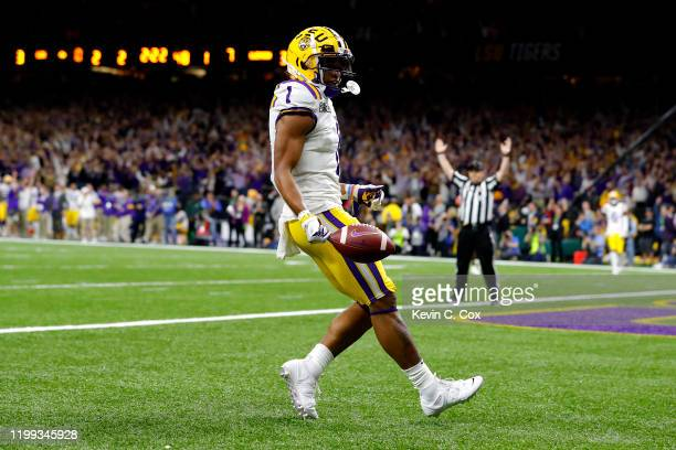 Ja'Marr Chase of the LSU Tigers scores a touchdown during the first half against the Clemson Tigers in the College Football Playoff National...