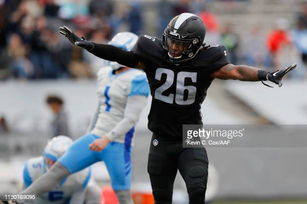 Jamar Summers of Birmingham Iron reacts after Taylor Bertolet of the Salt Lake Stallions misses a field goal during an Alliance of American Football...