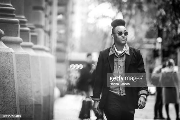 JamarzOnMarz wearing Hublot Sunglasses, Casablanca neck tie, Maison Margeila Blazer, Maison Margeila Denim Jacket, Casablanca tee, Subtype pants and...