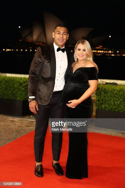 Jamayne Isaako and partner arrive at the 2018 Dally M Awards at Overseas Passenger Terminal on September 26 2018 in Sydney Australia
