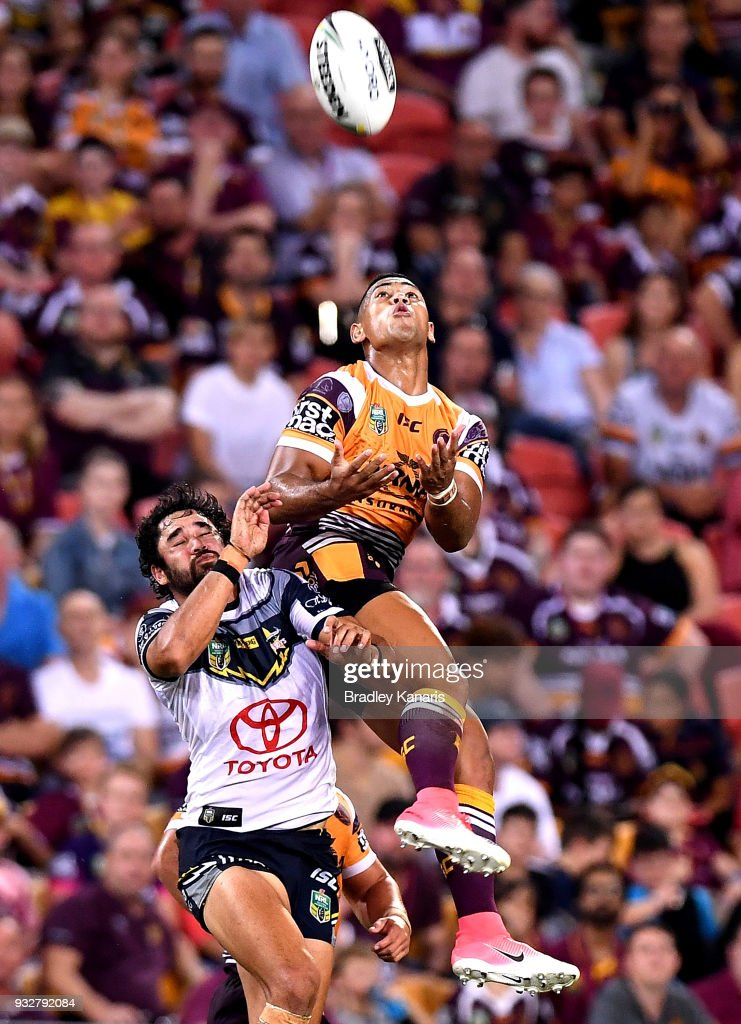 Jamayne Isaako of the Broncos catches the ball during the round two NRL match between the Brisbane Broncos and the North Queensland Cowboys at Suncorp Stadium on March 16, 2018 in Brisbane, Australia.
