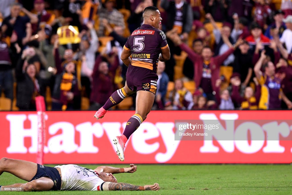 Jamayne Isaako of the Broncos celebrates scoring the match winning try during the round 11 NRL match between the Brisbane Broncos and the Sydney Roosters at Suncorp Stadium on May 18, 2018 in Brisbane, Australia.