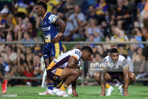 Jamayne Isaako of the Broncos looks dejected after an Eels try during the round seven NRL match between the Parramatta Eels and the Brisbane Broncos...