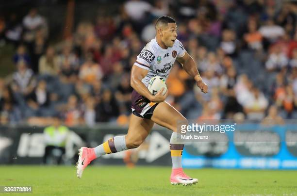 Jamayne Isaako of the Broncos runs with the ball during the round three NRL match between the Wests Tigers and the Brisbane Broncos at Campbelltown...