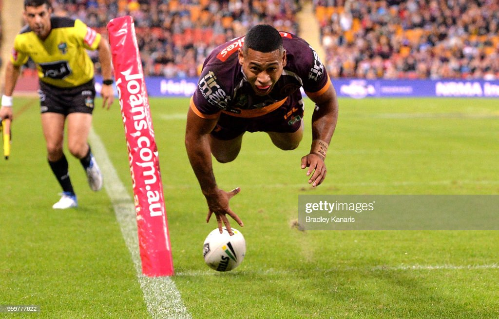 Jamayne Isaako of the Broncos scores a try during the round 11 NRL match between the Brisbane Broncos and the Sydney Roosters at Suncorp Stadium on May 18, 2018 in Brisbane, Australia.
