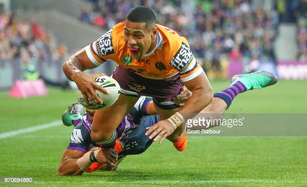 Jamayne Isaako of the Broncos scores a try during the round 14 NRL match between the Melbourne Storm and the Brisbane Broncos at AAMI Park on June 10...
