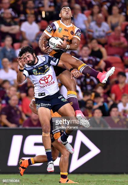 Jamayne Isaako of the Broncos takes a catch during the round two NRL match between the Brisbane Broncos and the North Queensland Cowboys at Suncorp...