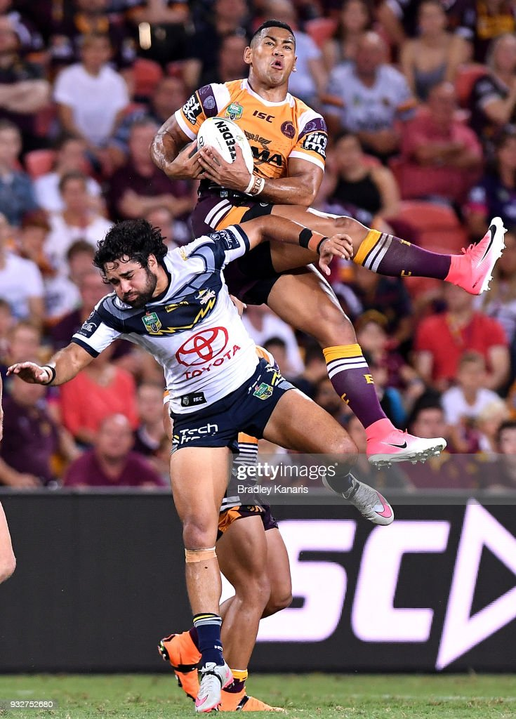 Jamayne Isaako of the Broncos takes the catch during the round two NRL match between the Brisbane Broncos and the North Queensland Cowboys at Suncorp Stadium on March 16, 2018 in Brisbane, Australia.