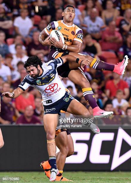 Jamayne Isaako of the Broncos takes the catch during the round two NRL match between the Brisbane Broncos and the North Queensland Cowboys at Suncorp...