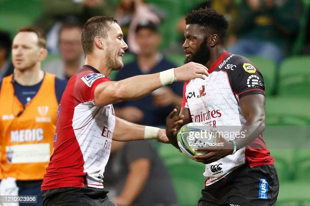 Jamba Ulengo of the Lions celebrates after scoring a try during the round six Super Rugby match between the Rebels and the Lions at on March 07, 2020...