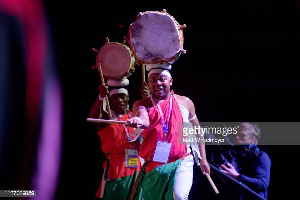 Jambo africa / Heartbeat Burundi Drummers perform onstage during the Sundance Film Festival Awards Night Ceremony at Basin Recreation Field House on...