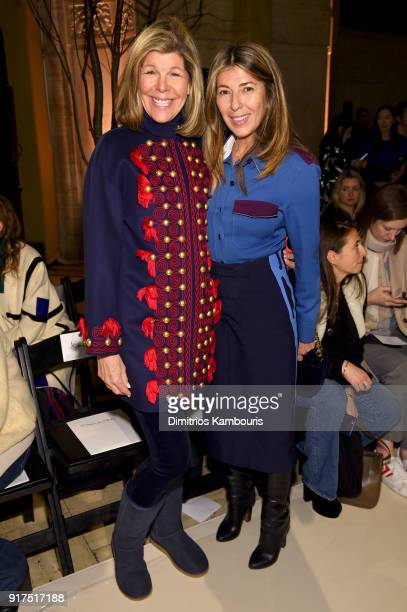 Jamee Gregory and Nina García attend the Oscar De La Renta fashion show during New York Fashion Week The Shows at The Cunard Building on February 12...