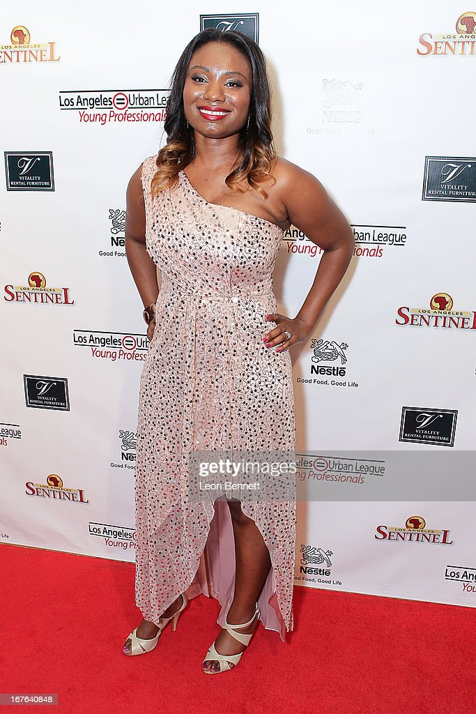 Jameeka Green Aaron arrived at the LA Urban League Young Professionals 3rd Annual To The Nines After Party at The Beverly Hilton Hotel on April 26, 2013 in Beverly Hills, California.