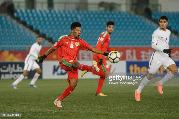 Jameel Al Yahmadi of Oman in action during the AFC U23 Championship China 2018 Group A match between Oman and Qatar at Changzhou Sports Center on 12...